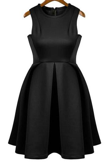 Elegant Solid Sleeveless Pleated Dress for Woman - Black