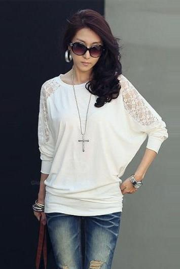Women's Batwing Top Dolman Long Sleeve Lace Loose T Shirt
