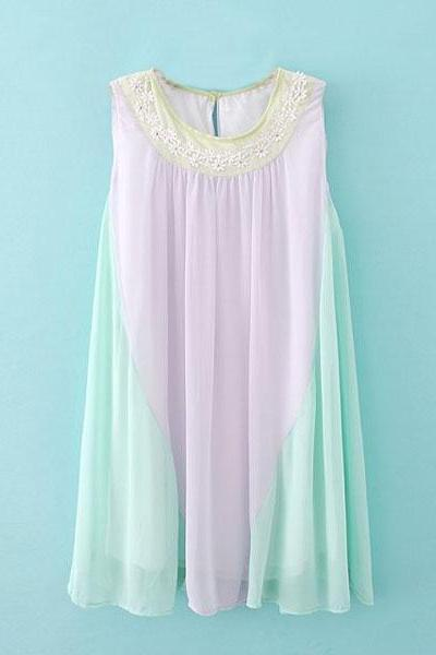 Fashion Round Neck Contrast Color Sleeveless Chiffon Dress