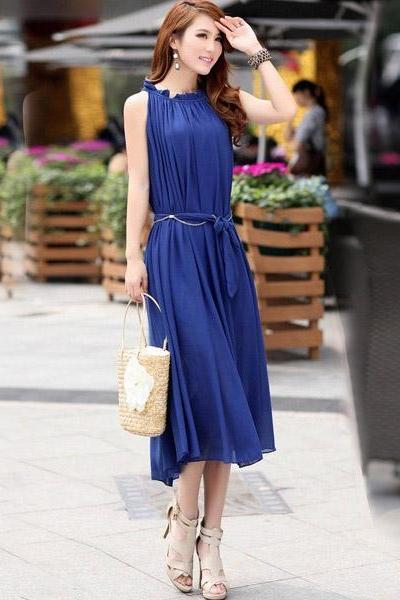 New Women's Sexy Strapless Long Chiffon Sleeveless Dress - Blue