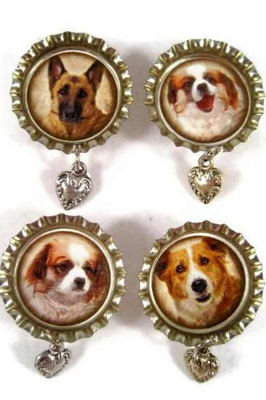 Magnets, Set of Bottle Cap Magnets with Dog Images and a Dangle Metal Heart Charm