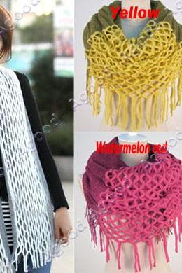 Fashion Women's Winter Warm Knitting Scarf Infinity polyester Tassel Scarves 18596