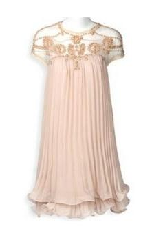 Short Sleeve Lace Pleated Chiffon Dress
