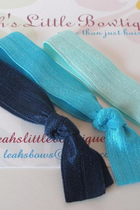 Blue Elastic Hair Ties: Set of three elastic hair ties navy turquoise aqua