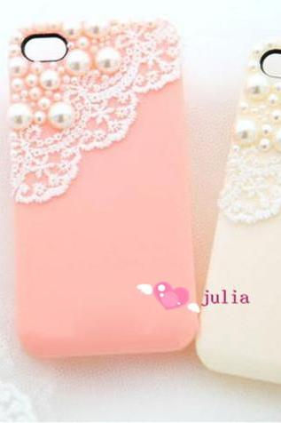 lace case pearl case bling bling case simple classy case iphone 4/4s/5/5s/5c