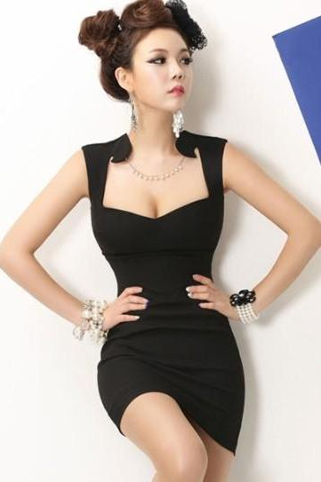 Fashion And Sexy V Neck Tank Sleeveless Sheath Black Mini Dress