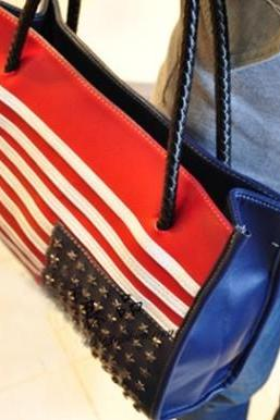Retro Punk Style American Flag Rivet Handbag