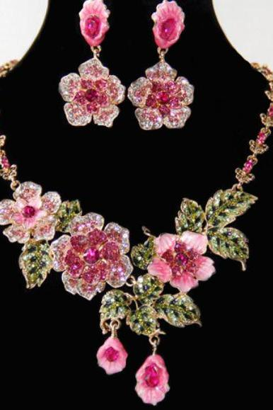 18K Gold Plated Pink Rainforrest Beauty Earrings and Necklace Jewelry Set