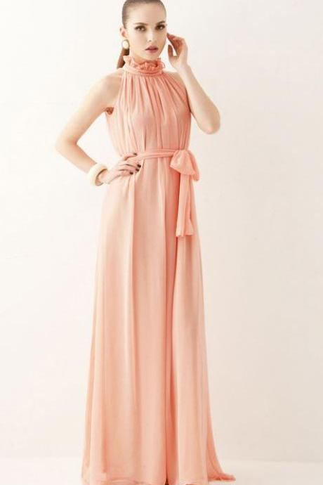 Peach Dress Free Shipping! V-Neck Sleeveless Gorgeous Peach Maxi Dress