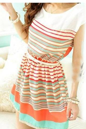 Sweet And Fashion Colorful Stripes Chiffon Dress With Bowknot Belt