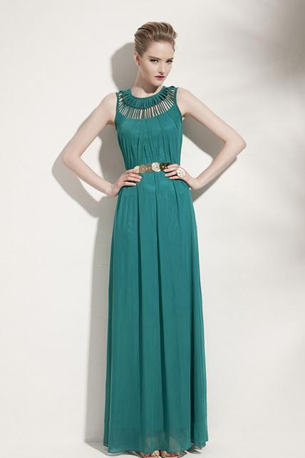 Goddess Style Long Pattern Solid Chiffon Prom Dress with Hollow Design - Green