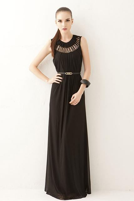 Goddess Style Long Pattern Solid Chiffon Prom Dress with Hollow Design - Black