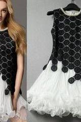 Black And White Embroidery Flowers Beaded Pleated Tank Dress