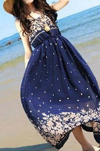 Floral Print High Waisted Beach Maxi Tank Dress Sundress