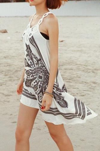 Asym Hem Cut Out Crochet Flower Beach Print Slip Dress