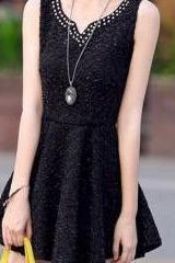 Embellished Bodycon Black Pleated Skater Tank Dress Sundress