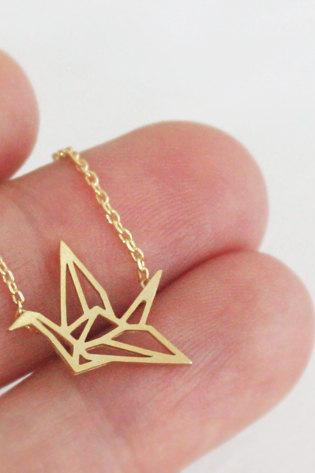 Gold Japanese Paper Crane Origami Necklace, Jewelry