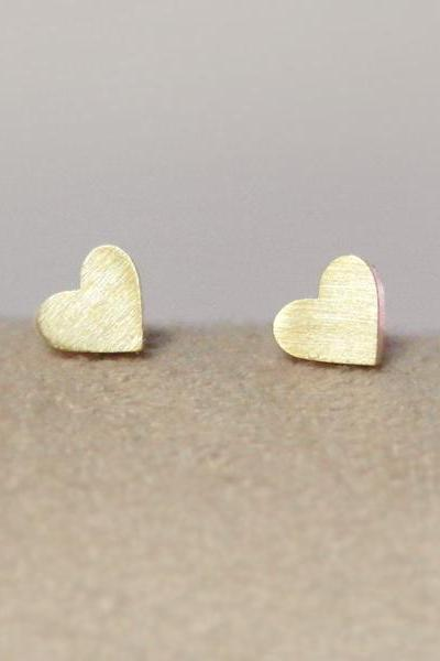 Gold Heart Shape Stud Earrings