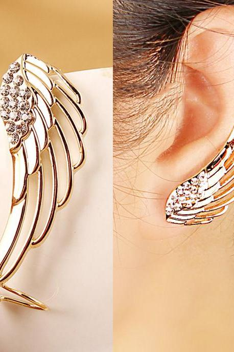 Modern Golden Rhinestones Wing Women Ear Clip Punk Earring - One Piece