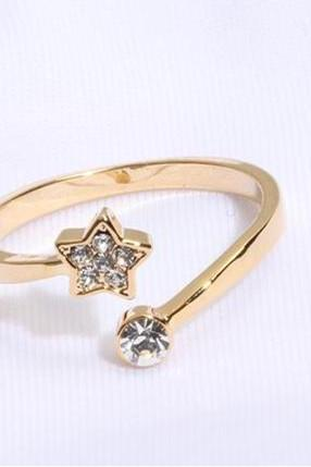 tiny small cute star ring in gold, silver or rose gold
