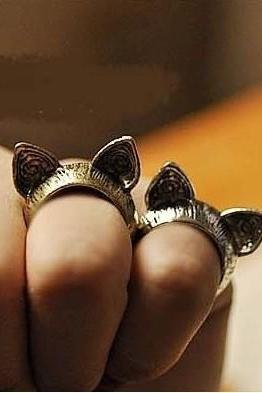 cat ring, kitty cat ring, cat ears ring, knuckle ring, pinky ring in silver, bronze