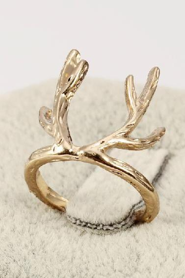 Delicate antler ring ring in gold, silver or rose gold