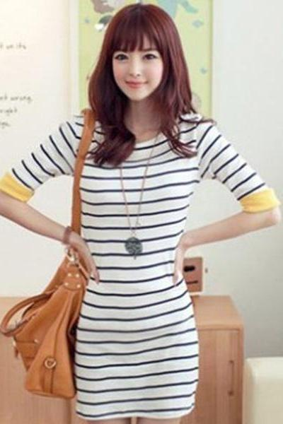 Sweet Round Neck Navy Striped Cotton Lady's Dress