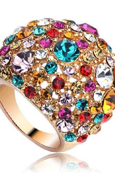 us size 5.5-8 ring Gypsophila exaggerated ring rose gold ring diamond crystal ring