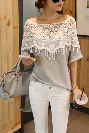 Cute Grey color lace cutout shirt