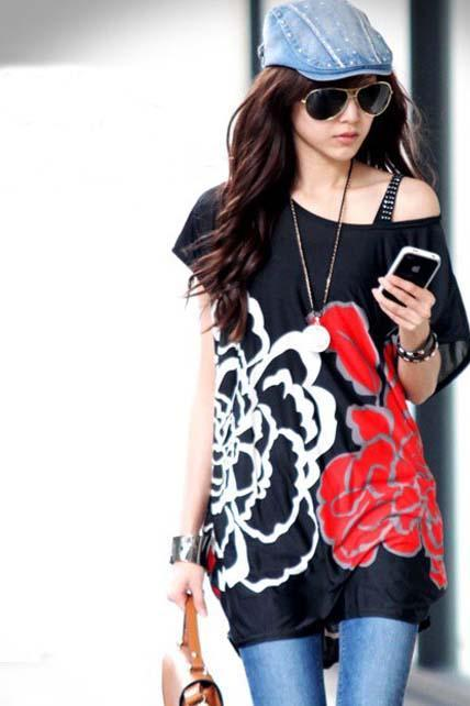 Big rose pattern of short sleeve T-shirt