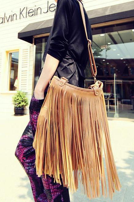Fashion Handbag With Long Tassels