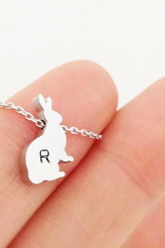 Personalized Initial Rabbit Necklace bracelet