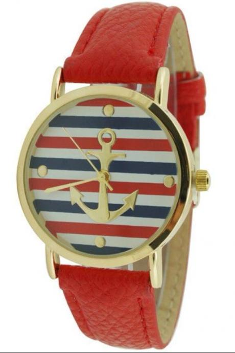 Anchor Stripe Leather Watch