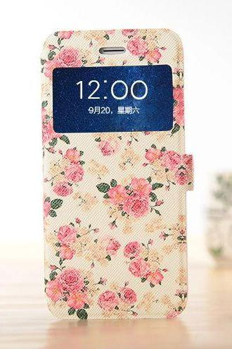 Elegant rose flower iphone 6 cases, girls iphone 6 floral case flower case, iphone 6 plus case, iphone 6 plus flip cover, iphone 6 plus cover