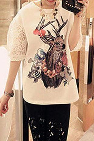 Slouchy Lace Sequins Short Sleeve T Shirt Tops