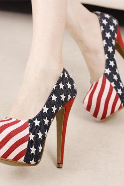 Fashion Catwalk Stiletto Heel Women Pumps With US Flag Upper Sexy Ultra High Heels Platforms Shoes