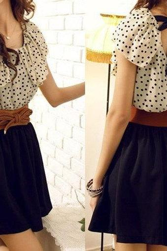 Fashion Short Sleeve Dots Polka Mini Summer Chiffon Dress With Belt