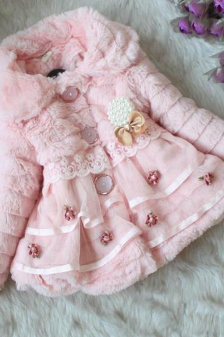 Pink Super Soft Faux Fur Winter Coat for Girls with Buttons-pINK JACKET FOR GIRLS-SUPER SOFT PINK WINTER COATS