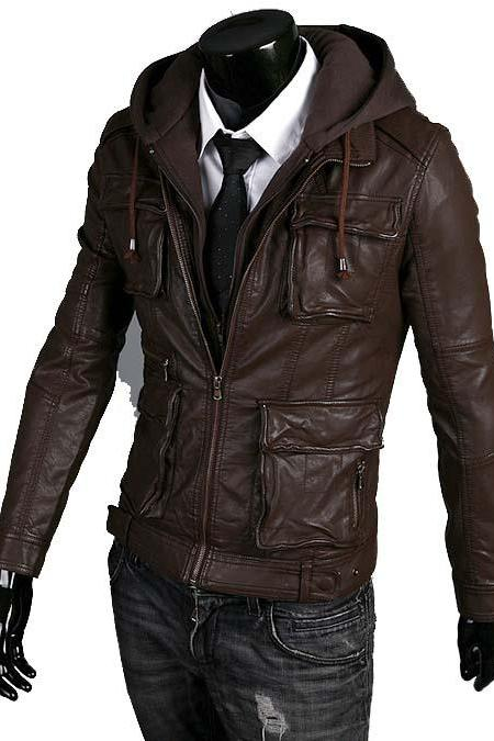 MEN DETACHABLE FABRIC HOODED LEATHER JACKET