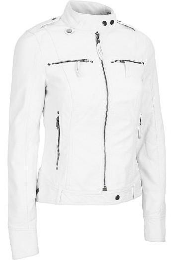 WOMEN white LEATHER JACKET, WOMEN BIKER LEATHER JACK