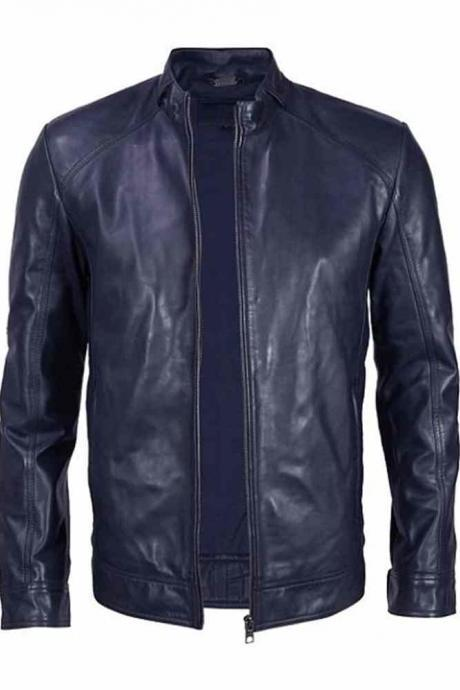 MENS BIKER LEATHER JACKET, SLIMFIT MOTORCYCLE JACKET MEN'S, MEN LEATHER JACKET
