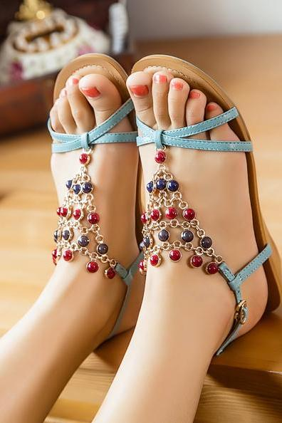 Ethnic beaded sandals Low-heeled shoes MIk