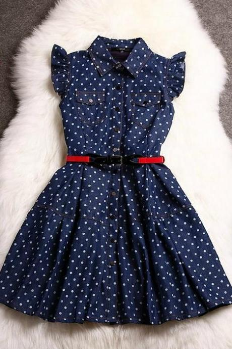 Polka Dot Collared Button-Up Dress with Ruffled Sleeves and Double Breasted Pockets