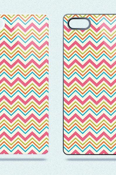 Colorful Chevron Stripes - Hard Cover Case for iPhone 4, 4S & more