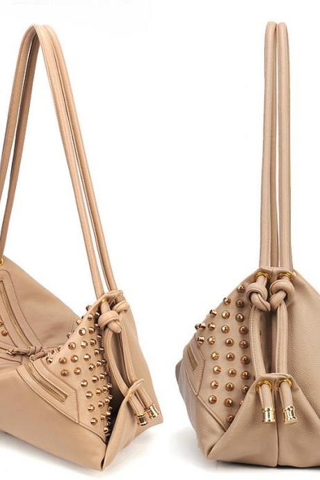 Camel Rivet Studded Dual Strap Shoulder Bag