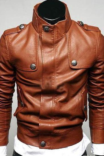 Handmade men slim fit leather jacket,leather jacket for men