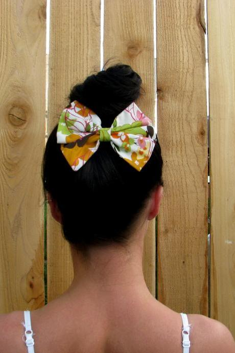 Fabric Bow Hair Alligator Barrette Clip in Coral, Cream, Brown, Green, Pink, Yellow, Pastels Floral Print- Enjoy in hair, cap, or clothing