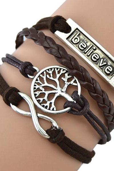 charm Believe 8 word Tree handmade bracelet friendship gift
