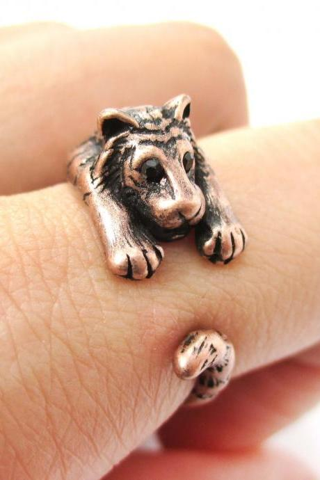 Realistic Tiger Animal Wrap Around Hug Ring in Copper - Sizes 4 to 9