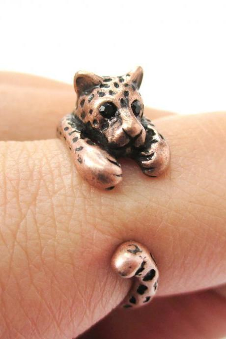 Realistic Leopard Cat Animal Wrap Around Hug Ring in Copper - Sizes 4 to 9